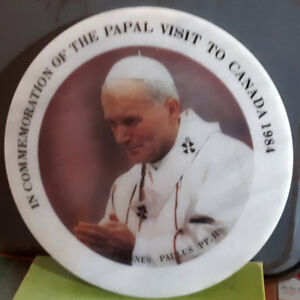 Pope John Paul Commemorative plate -Canada 1984