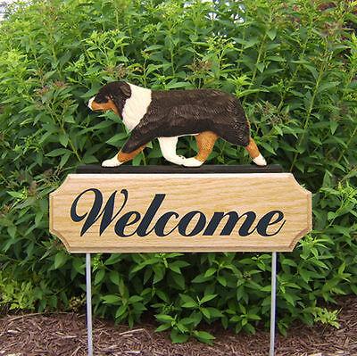 Australian Shepherd Dog Breed Oak Wood Welcome Outdoor Yard Sign Black Tri