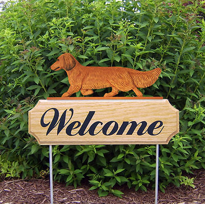 Dachshund Long Hair Dog Breed Oak Wood Welcome Outdoor Yard Sign Red