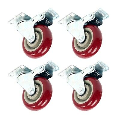 Heavy Duty 4 Inch Swivel Plate Caster Red Polyurethane Wheels - Pack Of 4 New
