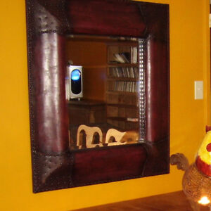 Stunning Leathered and studded amazing reddish/brown mirror