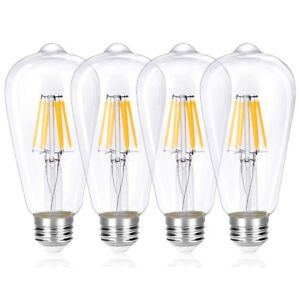 Classic LED Filament E26 Edison Screw Bulb, 6 W (60 W) ST64 Vint