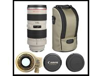 Canon EF 70-200mm F/2.8 L EF USM Telephoto Zoom Mount Lens for EOS Cameras, bag & Hoya filter