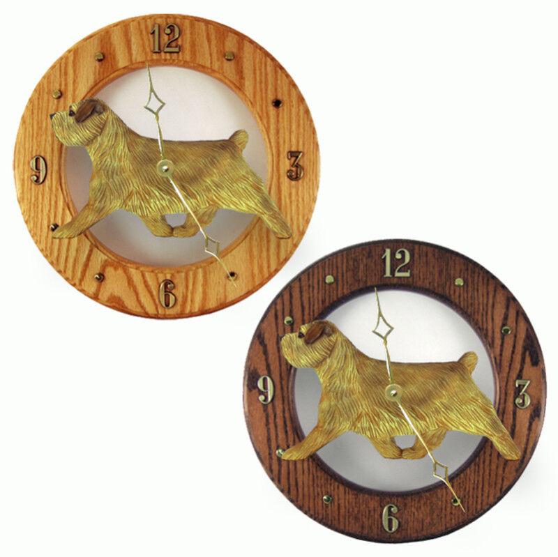 Norfolk Terrier Wood Clock Grizzle