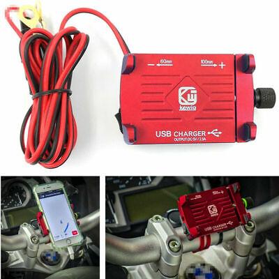 1X Rot CNC Motorrad Lenker GPS-Telefonhalter Halterung mit 2.5A