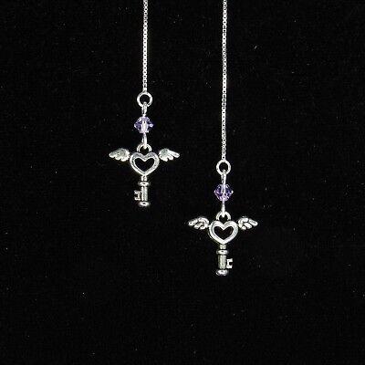 (*SJ1* Angel Wing Heart Key Cross Sterling Silver Threader Earrings w/ Upick)