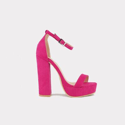Pink Faux Suede Open Toe Ankle Strap Platform Block Heel Dress Sandals Sz 5.5-10