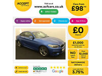 Blue BMW 218d M Sport Coupe Auto 2017 2 door FROM £98 PER WEEK!