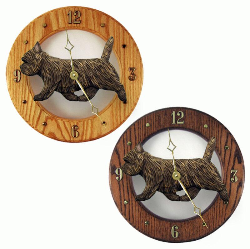 Cairn Terrier Wood Clock Black Brindle