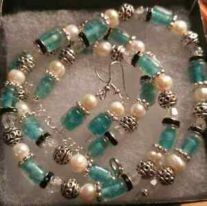 Handmade necklace, bracelet & earrings