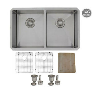 Undermount Stainless Steel Kitchen Sink Double Bowl,Grids,32 IN