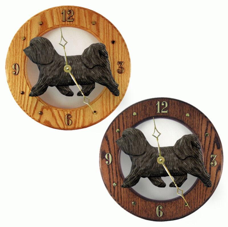 Havanese Wood Clock Dark Gray