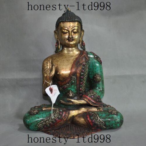 Old Tibet Buddhism Bronze Turquoise Coral Gem Sakyamuni Shakyamuni Buddha Statue