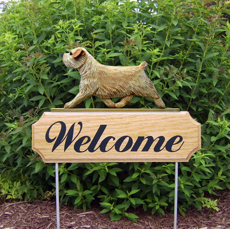 Norfolk Terrier Wood Welcome Outdoor Sign Wheaten
