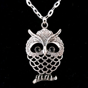 NEW Silver Owl Necklaces with Black Eyes