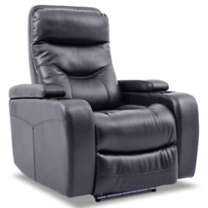 Glow Leather-Look Fabric Power Recliner