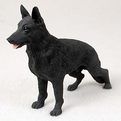 German Shepherd Hand Painted Collectible Dog Figurine Statue Black