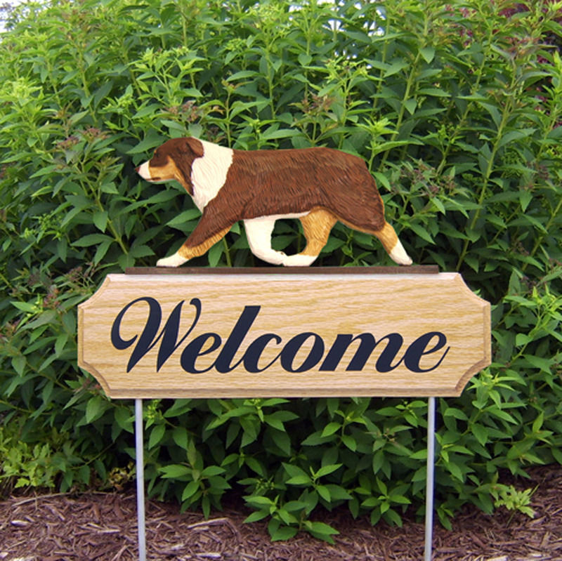 Australian Shepherd Wood Welcome Outdoor Sign Red Tri
