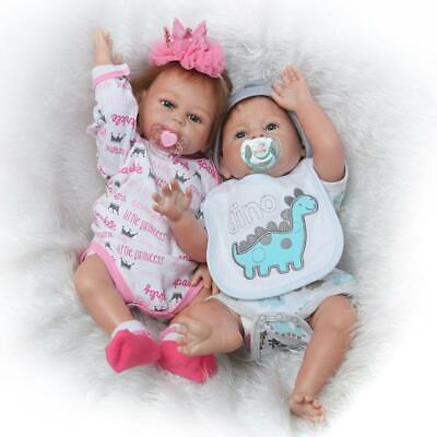 "Reborn Twins Dolls 20"" Full Body Silicone Boy Girl Baby Alive Newborn Bebes 2pcs for sale  USA"