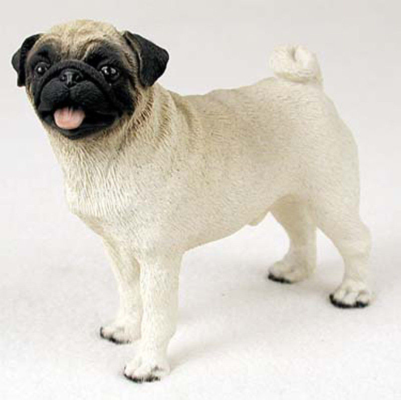 Pug Figurine Hand Painted Collectible Statue