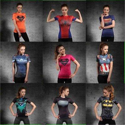 Sport Women Girls Superhero Fashion Short Sleeve Shirt Slim Fit T-shirt Tee Top - Superhero Women
