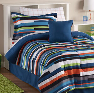 Offset Stripe 3-Pc. Comforter Set  - Twin, New