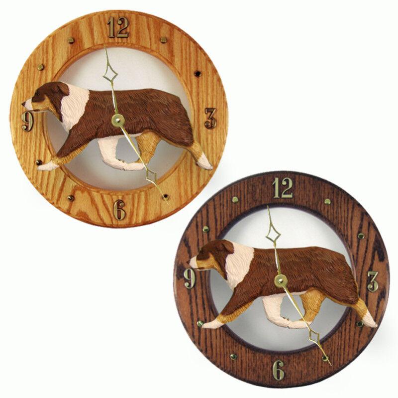Australian Shepherd Wood Clock Red Tri