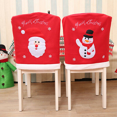 Santa Claus Embroidered Chair Back Cover for Christmas Kitchen Dinner Decoration (Chair Decorations For Halloween)