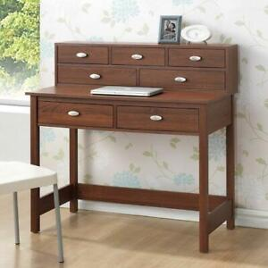 Super Office Writing Desk With Hutch 7 Storage Drawers Contemporary Wood Brown Oak Home Interior And Landscaping Ponolsignezvosmurscom