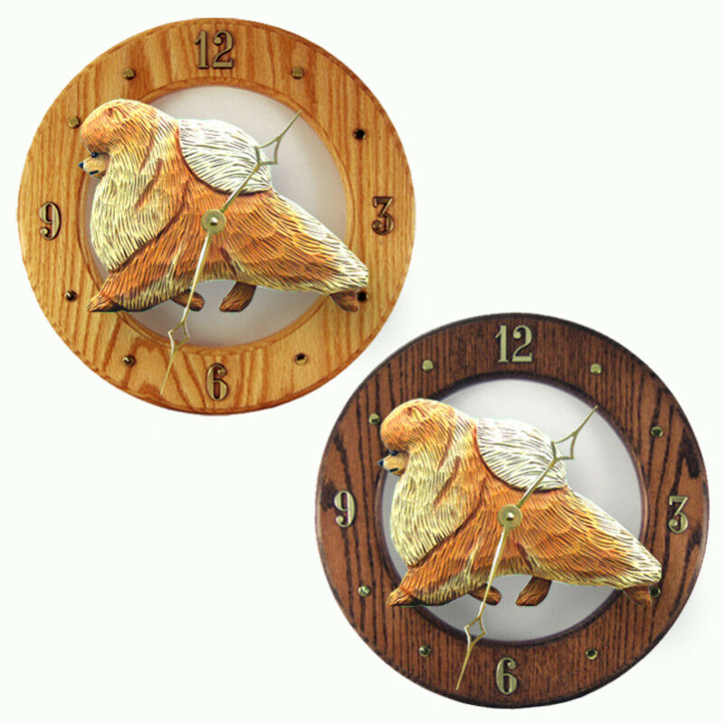 Pomeranian Wood Clock Orange