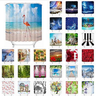 Flamingo Forest Beach Scene 180/200cm Shower Curtain Polyester Waterproof Fabric