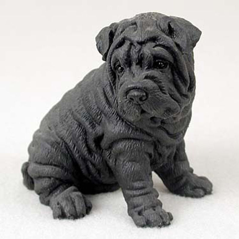 Shar-Pei Figurine Hand Painted Collectible Statue Black