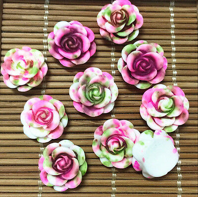 NEW 10pcs Resin Rose Flower flatback Appliques For phone/wedding/crafts BF8