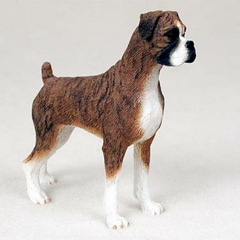 Boxer Figurine Hand Painted Collectible Statue Brindle Uncropped