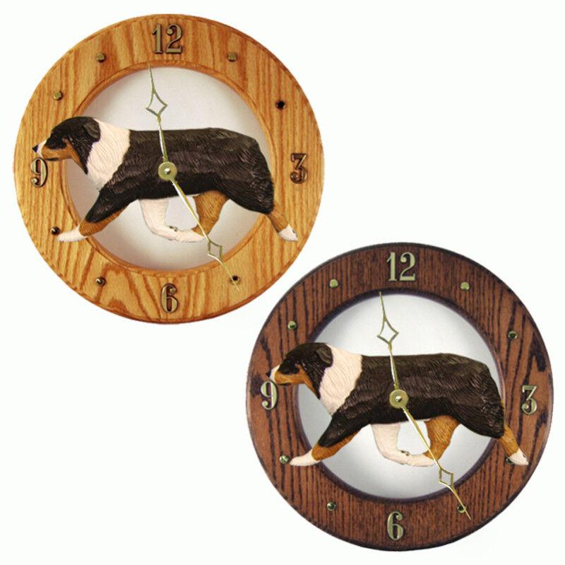 Australian Shepherd Wood Clock Tri