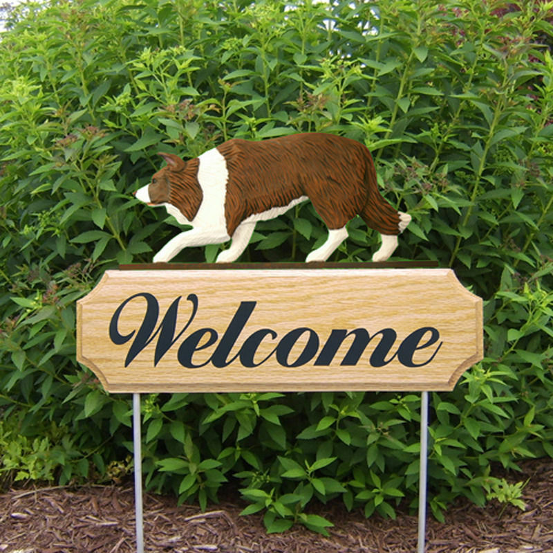 Border Collie Wood Welcome Outdoor Sign Red