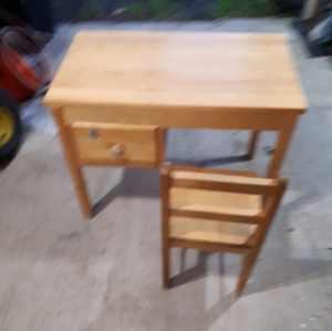 Kids solid wood desk and chair