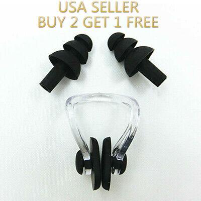 Black Silicone Waterproof Swim Swimming Nose Clip + Ear Plug Earplug Combo (Swimming Equipment)