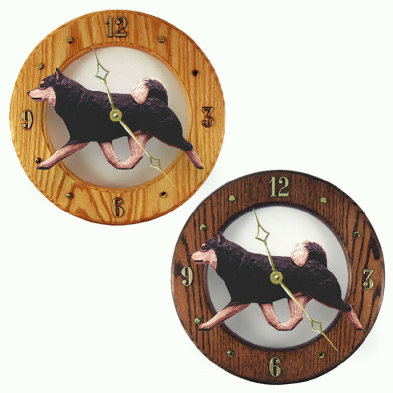 Shiba Inu Wood Clock Blk/Tan