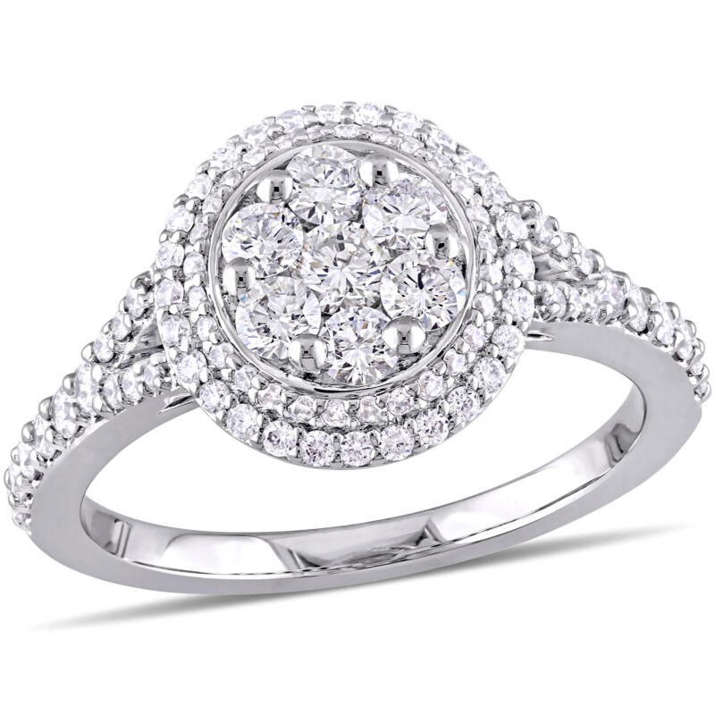 Amour 1 Ct Tw Diamond Halo Engagement Ring In 14k White Gold