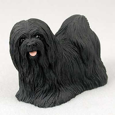 Lhasa Apso Dogs - Lhasa Apso Figurine Hand Painted Statue Black