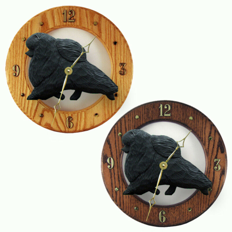 Pomeranian Wood Clock Blk