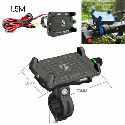 CNC Motorcycle GPS Navigation Mount Holder with Phone 2.5A USB Charger Black 1x