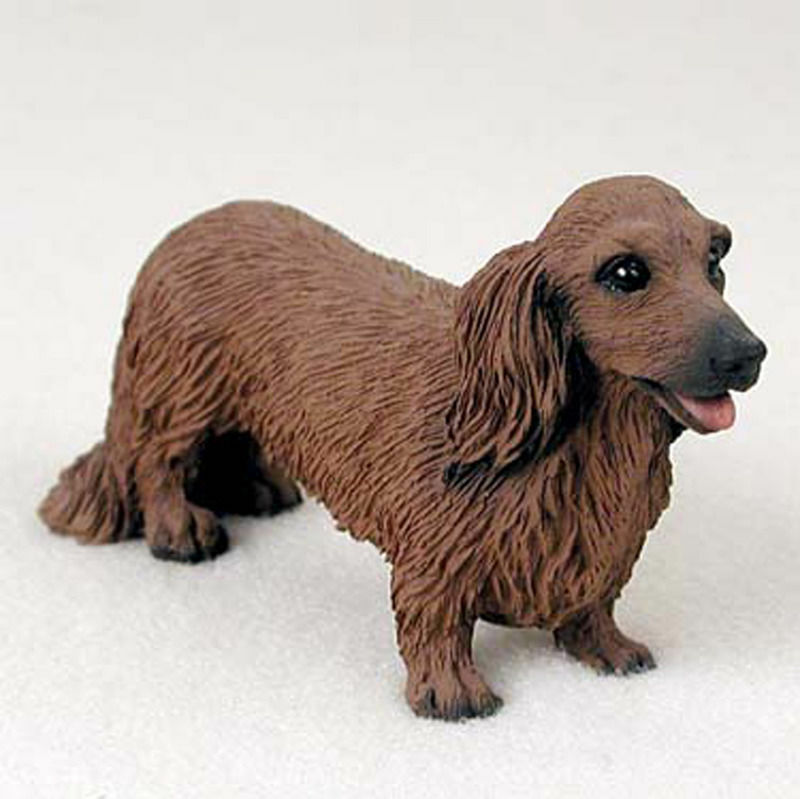 Dachshund Figurine Hand Painted Collectible Statue Red Long Haired