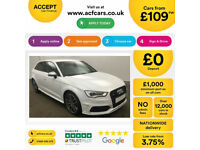 White AUDI S3 SALOON 2.0 T FSI Petrol QUATTRO FROM £109 PER WEEK!