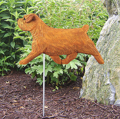 Norfolk Terrier Outdoor Garden Dog Sign Hand Painted Figure Red