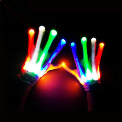 LED Flashing Multi Colour Gloves Electro Light Up Dance Rave