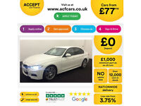 WHITE BMW 330d M Sport Auto Leather Nav 2014 FROM £77 PER WEEK!
