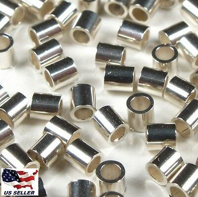 50ea. Sterling Silver 2mm Crimp Tube Bead ( Heavy Duty Quality )