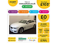 White BMW 420d M Sport Coupe 4 door 190 BHP 2016 FROM £103 PER WEEK!